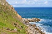 Landscape. Seashore. Coastal area of the Australian shore. Scenic view with green hills. — Stock Photo