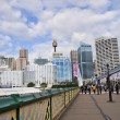 View of Sydney from Darling Harbour. Darling Harbour the city centre of Sydney is an area of entertainment facilities and a pedestrian walkway — Stock Photo