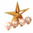 Glitter christmas balls and star isolated on white background — Stock Photo