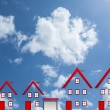 Dream houses with clouds and blue sky,success concept — Stock Photo
