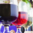 Stock Photo: Glasses of diferent wines on blue towel