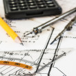 Tools and mechanisms detail on the background of engineer drawings — Stock Photo #12899638