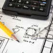 Tools and mechanisms detail on the background of engineer drawings — 图库照片 #12899639