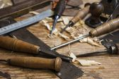 Joiner tools,chisel and meter on wood table background — Foto de Stock