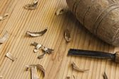 Joiner tools on wood table background — Stock Photo