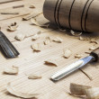 Oiner tools,hammer and chisel  on wood table background — Stock Photo
