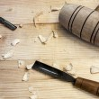 Joiner tools,hammer and chisel on wood table background — Stock Photo