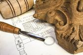 Wood carving with work tools and technical drawing,isolated — Stock Photo