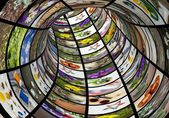 Abstract multimedia tube background,colourful images, technologies concept — Stock Photo