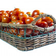 Cherry tomatoes basket isolated — Stock Photo