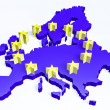 3d european union map — Foto Stock