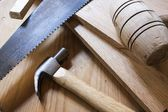 Carpentry hammers and saw — Stock Photo