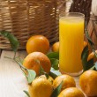 Tangerine basket and juice — Stock Photo