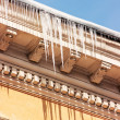 Icicles on the roof — Stockfoto