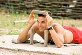Young man in the playground — Stock Photo