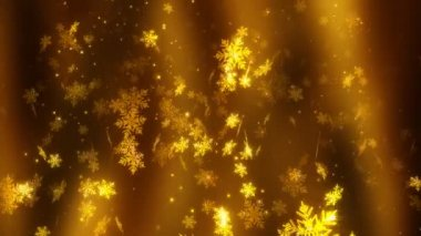 Golden snowflakes. — Stock Video