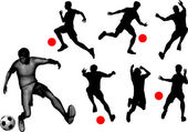 Silhouettes of soccer players. — Stock Vector