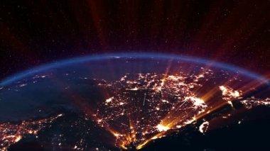 Noche de la tierra. asia. — Vídeo de Stock