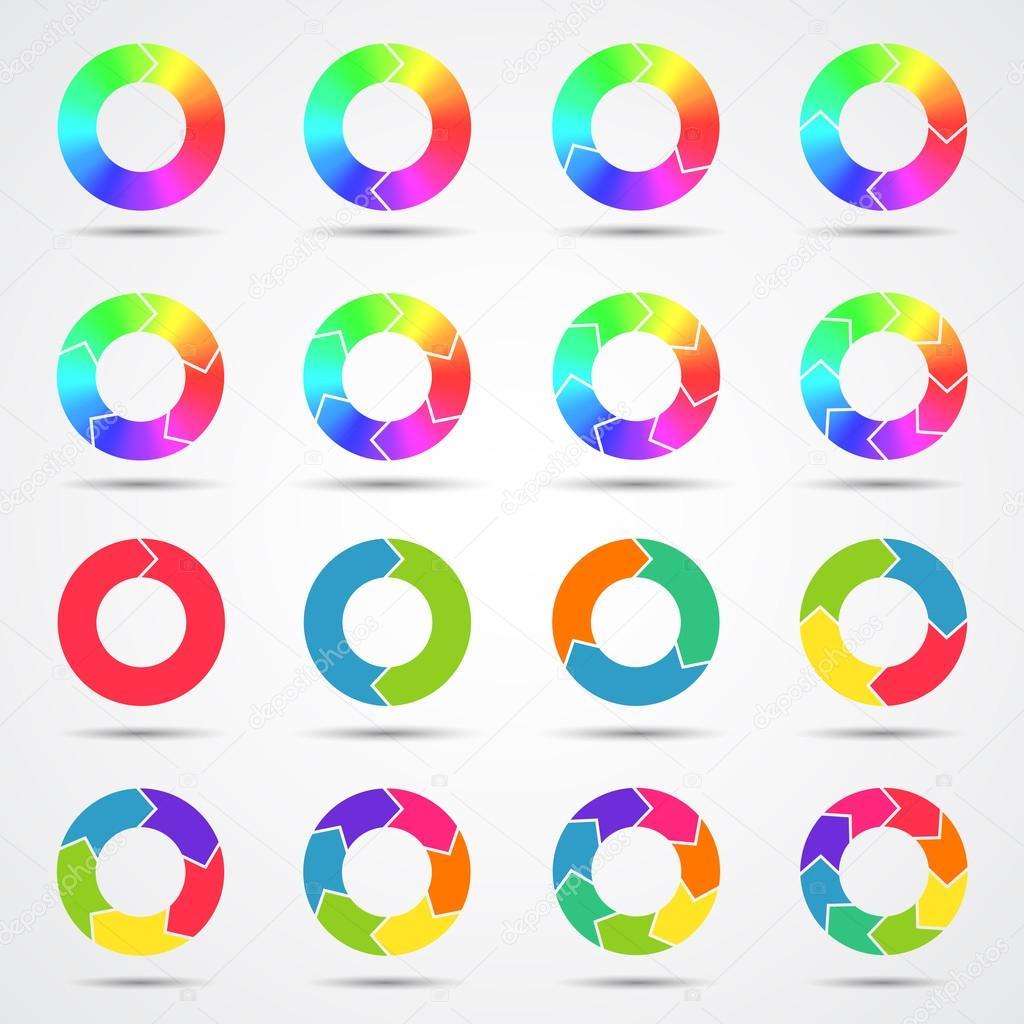 套的彩色圆圈箭头