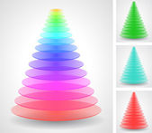 Color pyramids set — Vetor de Stock