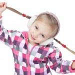 Happy little blonde girl in winter headphones on white — Stock Photo
