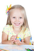 Young girl in school at the desk in studio — Stock Photo