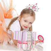 Little princess girl with a mirror — Stock Photo