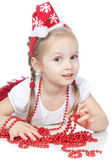 Pretty little girl in santa helper hat on white — Stock Photo