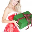 Young beautiful blonde woman with gift box — Foto Stock