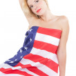 Happy young woman wearing american flag — Stock Photo #15856499