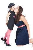 Happy mother hugging her funny little girl over white — Stock Photo