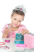 Little princess with a pink lipstick and crown — Stock Photo