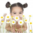 Little girl with daisies on white — Stock fotografie #16021335