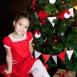Lovely little girl at Christmas time — Stock Photo