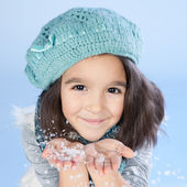 Winter girl Blowing Snow — Stock Photo