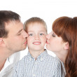 Happy family - mother, father and little son — Stock Photo