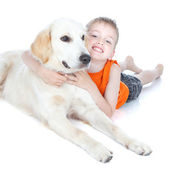 Boy with a big dog — Stock Photo