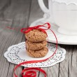 Cup of tea and cookies on wooden background - Stock Photo