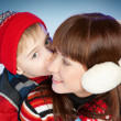 Happy Mother and Son in Winter Clothes - Stock Photo