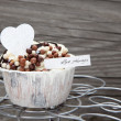 Chocolate cupcake on wooden background — Stock Photo