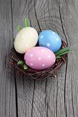 Bir yuvaya renkli paskalya yumurtaları — Stok fotoğraf