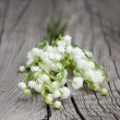 Lilies of the valley on wooden background — Foto de Stock