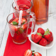 Drink with fresh strawberry — Stock Photo