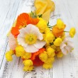 Bouquet of summer flowers on a table — Stock Photo