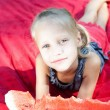 Funny child eating watermelon in the park — Stock Photo #26762101