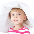 Cute little girl in white hat isolated on white background — Stock Photo