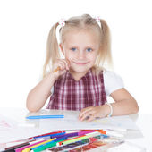 Funny little schoolgirl — Stock Photo
