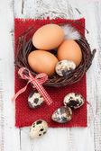 Fresh eggs on a table — Stock Photo