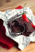 Chili pepper and dark chocolate — Stock Photo