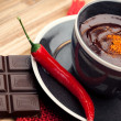 Hot chocolate with chili pepper — Stock Photo #41092735